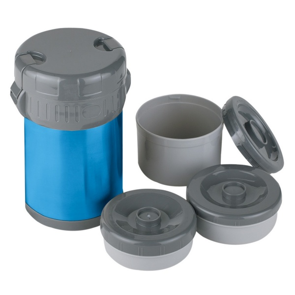 Купить Термос Ferrino Inox Lunch Jug With 3 Containers 1.5 Lt Blue